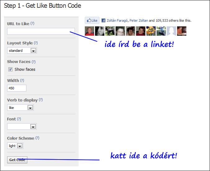 Facebook like gomb létrehozása